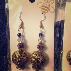 Vintage brass earrings w/ Czech Glass beads